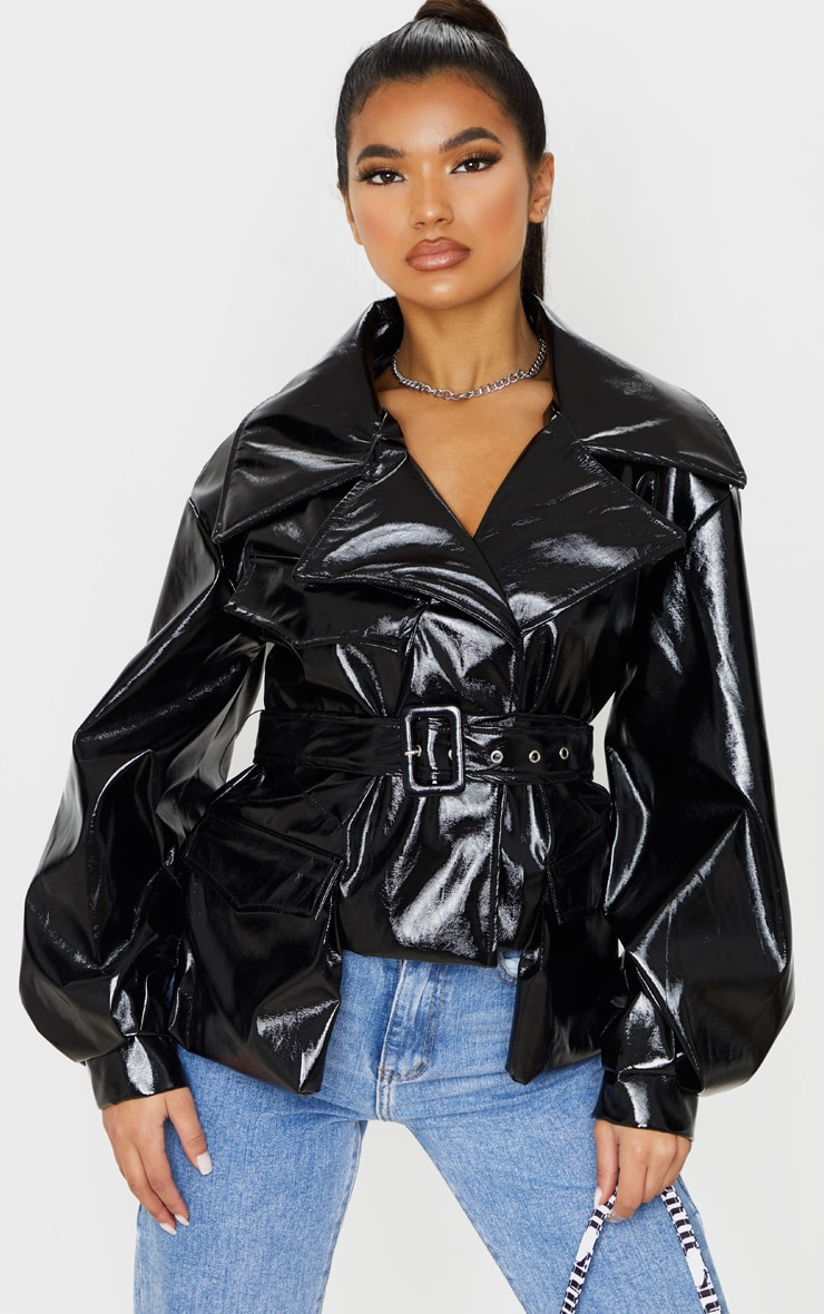 Black Vinyl Belted Balloon Sleeve Biker Jacket image 1