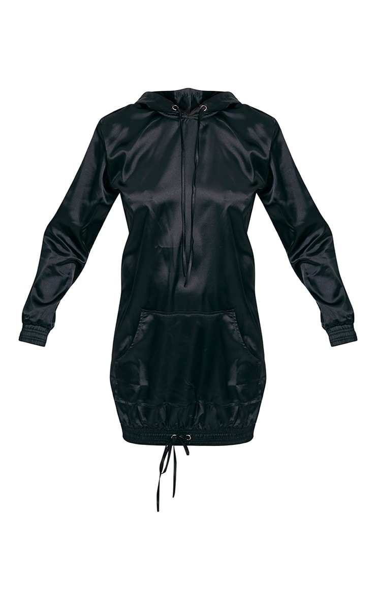 Maya Black Satin Oversized Hoodie Dress 3