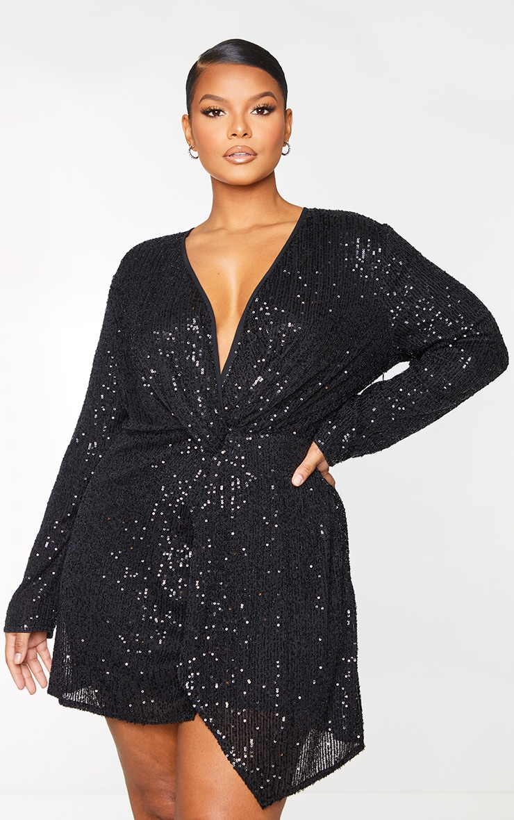 Plus Black Sequin Long Sleeve Wrap Dress 3