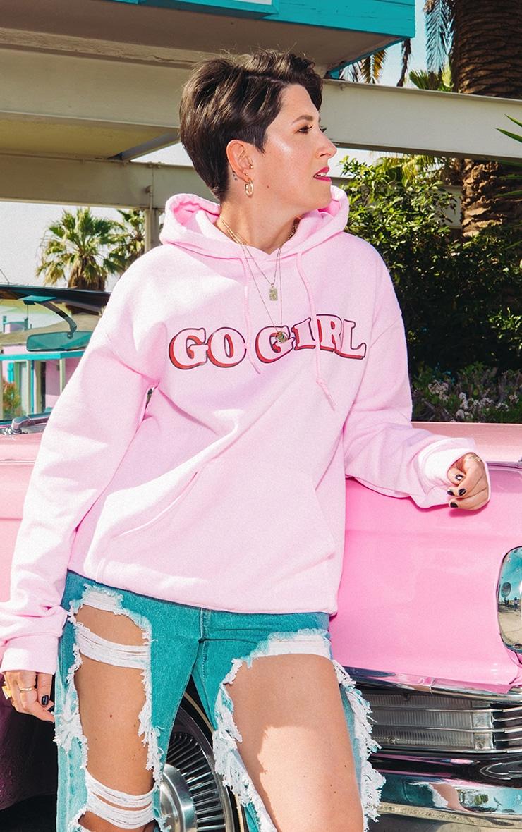 GO GIRL Hoodie Baby Pink 1