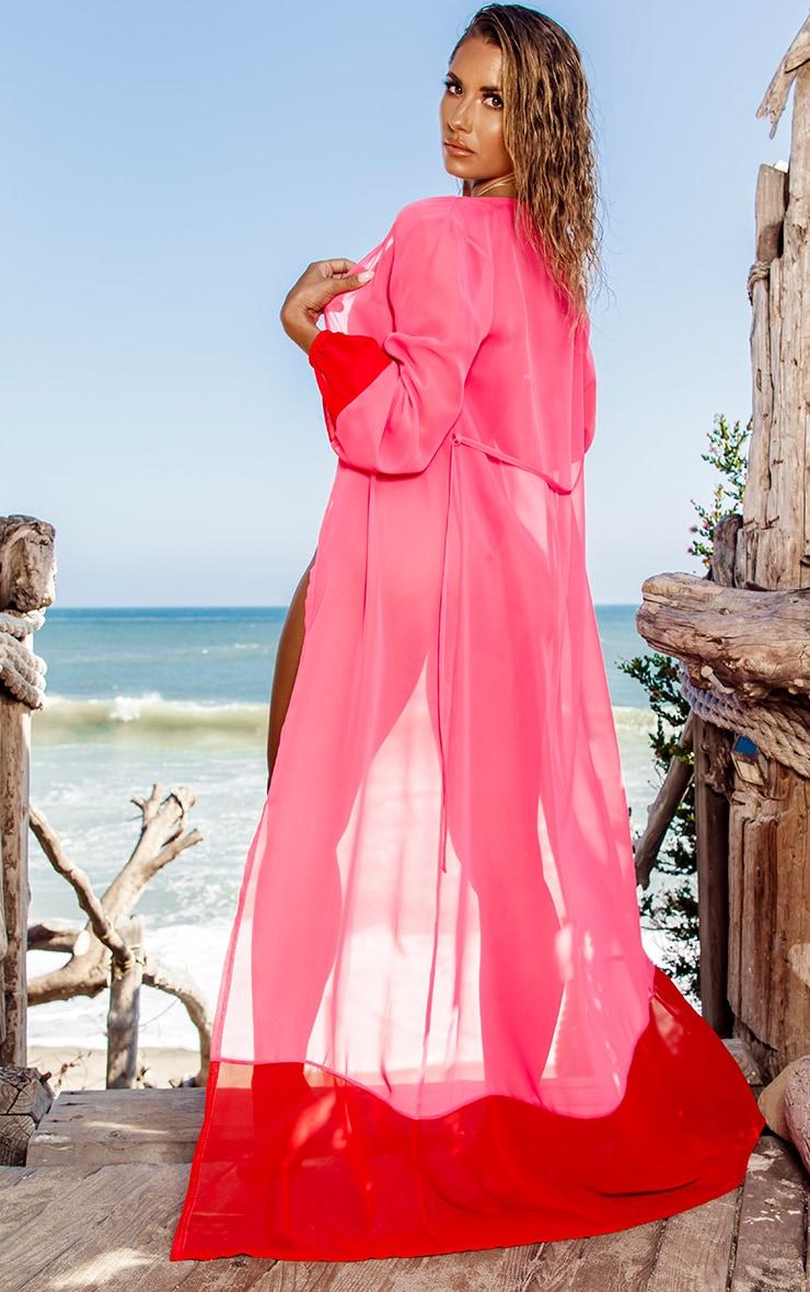 Pink Contrast Hem Maxi Beach Kimono 2