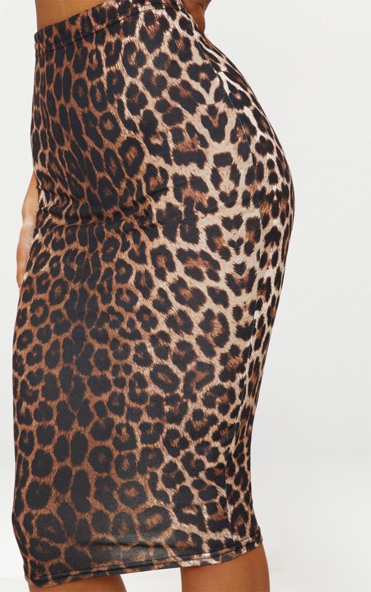 Tan Leopard Print Midi Skirt 5