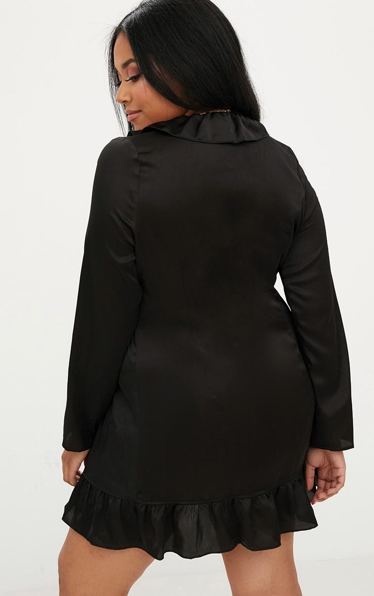 Plus Black Ruffle Wrap Dress 2