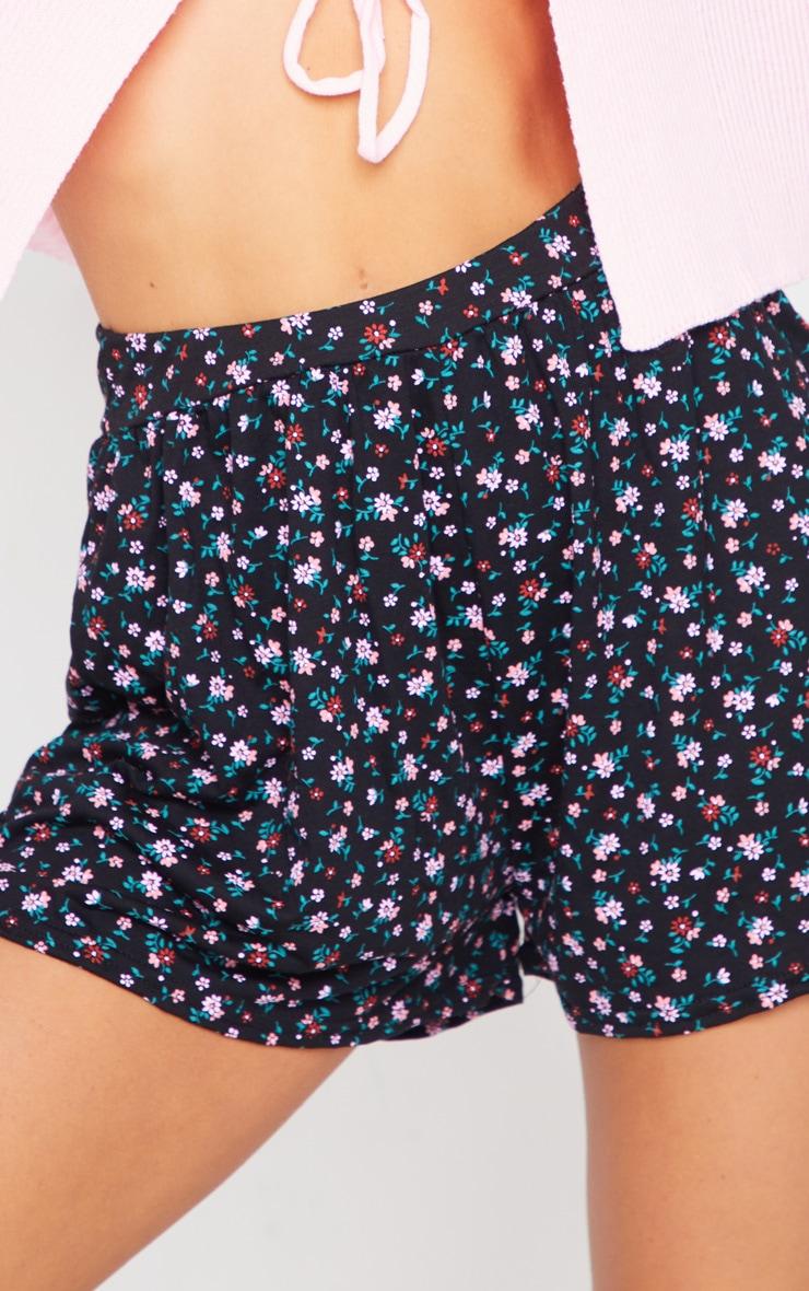 Black Ditsy Floaty Shorts 5