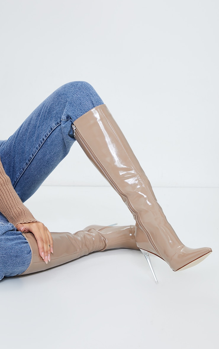 Taupe Patent Clear Stiletto Heel Knee High Boots 2