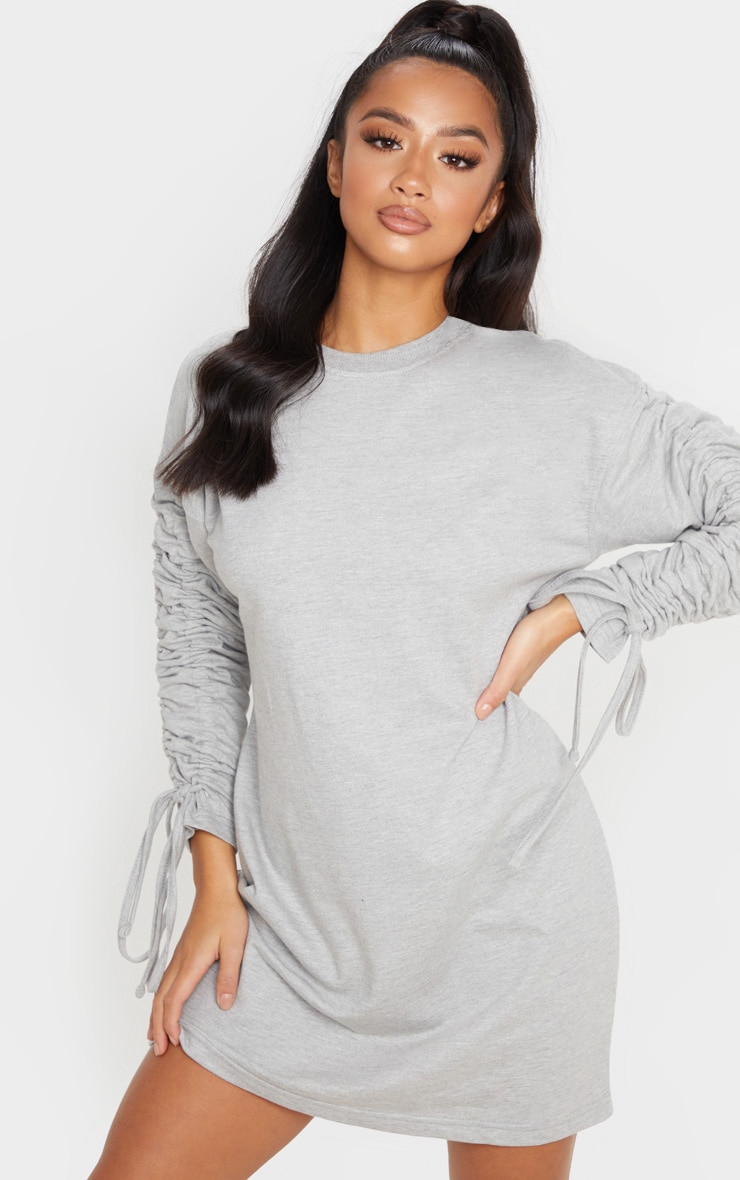 Petite Grey Marl Ruched Sleeve Sweater Dress  1