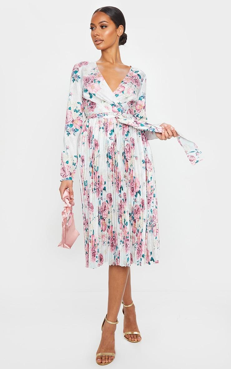White Floral Print Long Sleeve Pleated Midi Dress 1