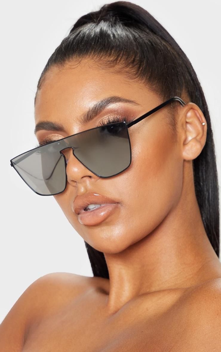 Silver Revo Flat Top Oversized Sunglasses 1