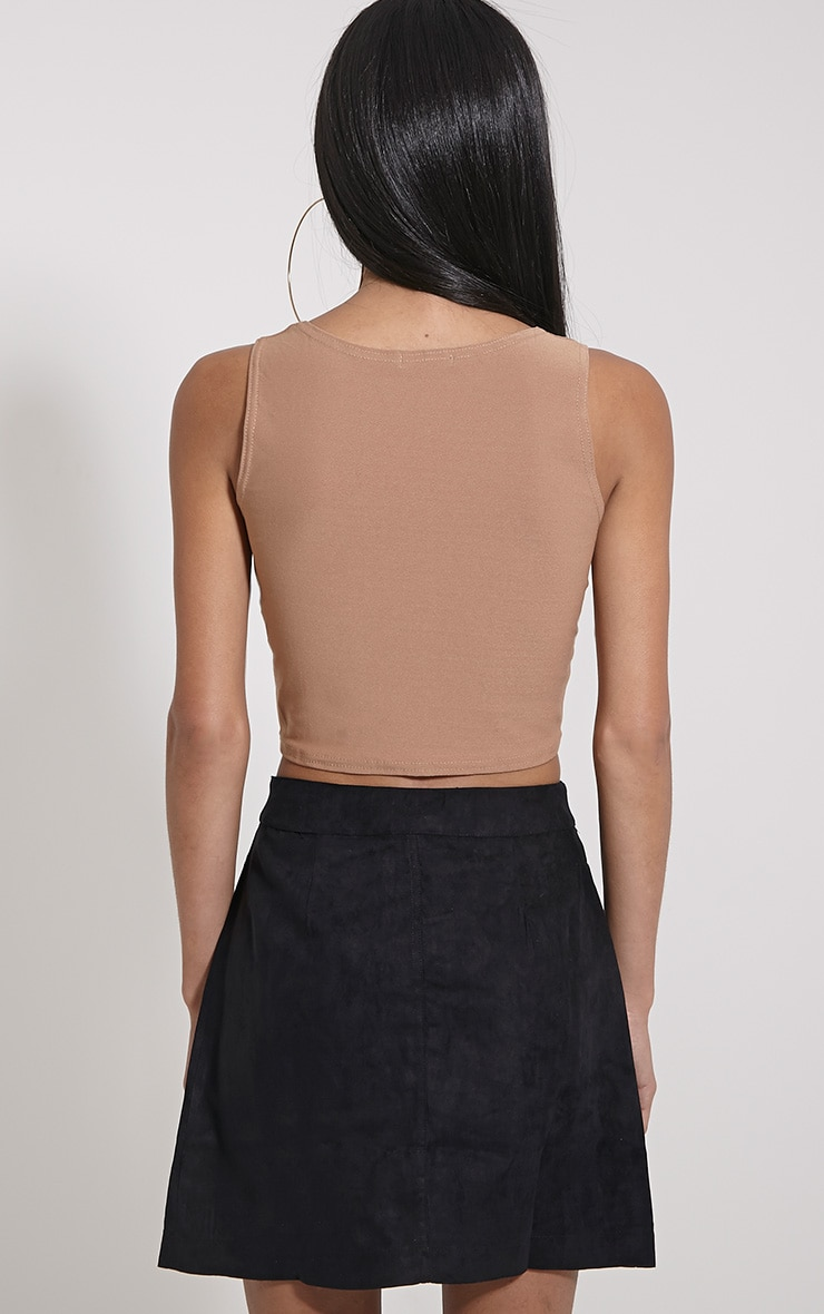 Zuri Camel Crepe Sleeveless Knot front Crop Top 2