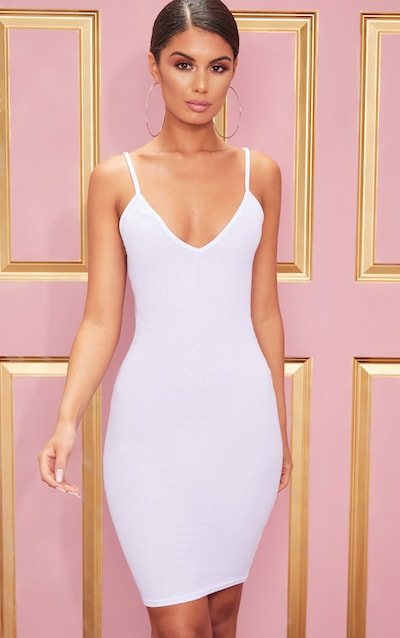 White Ribbed Plunge Midi Dress