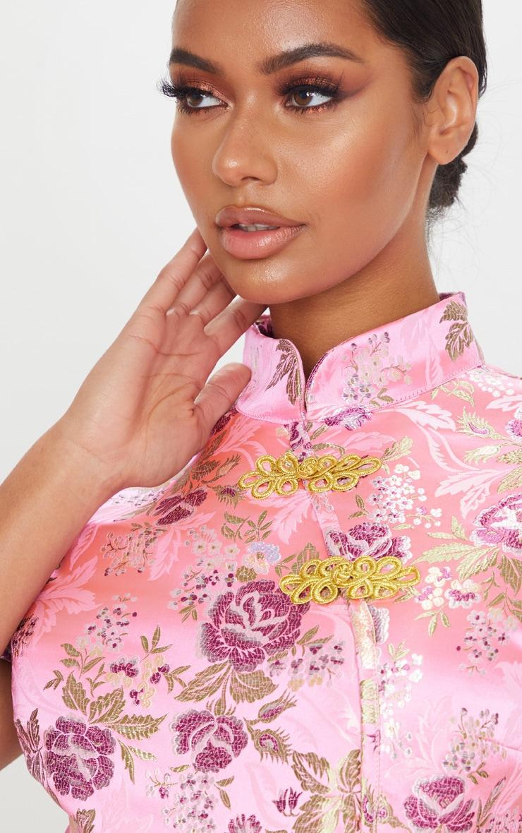 Light Pink Woven Print High Neck Bodysuit 4