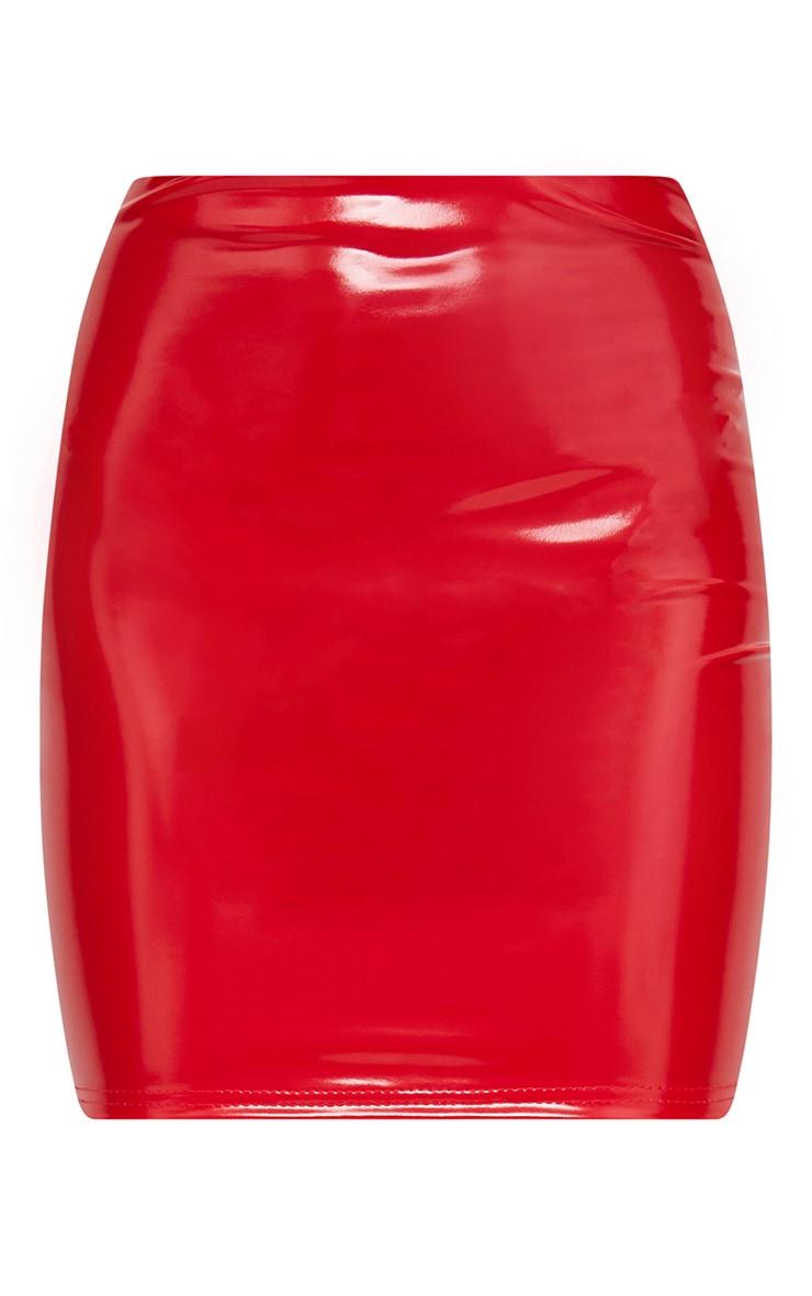 Petite - Mini-jupe rouge en vinyle 3