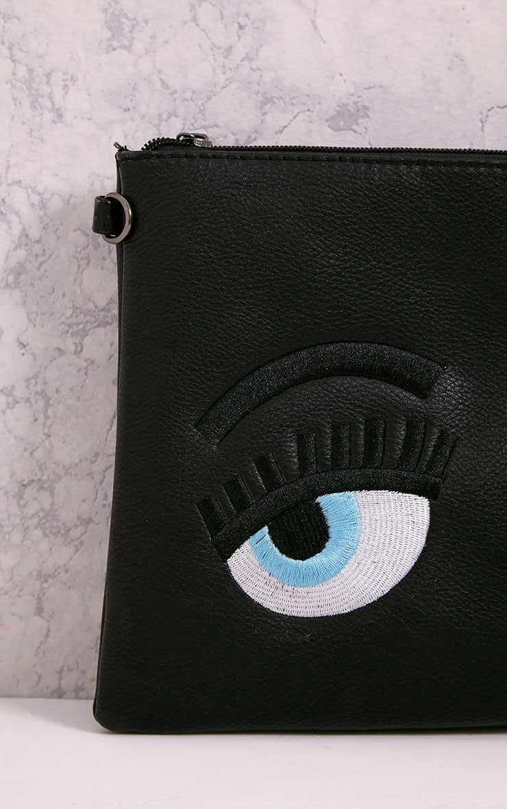 Floanna Black Eye Detail Clutch Bag 4