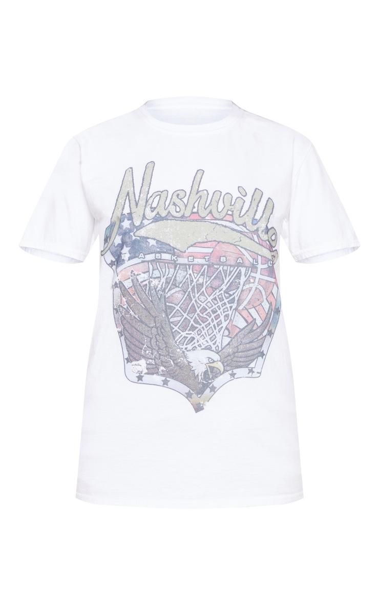 White Nashville Slogan Washed Fitted T Shirt 3