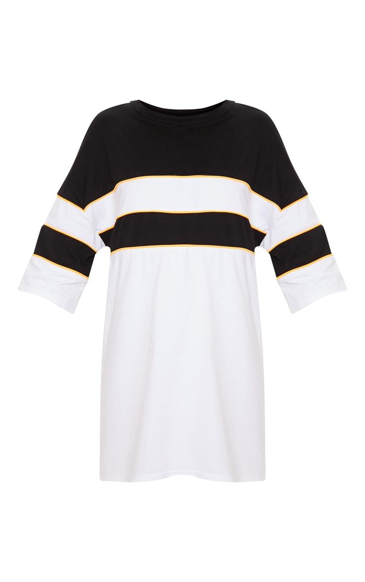 White Oversized Neon Trim Stripe T-Shirt Dress 4