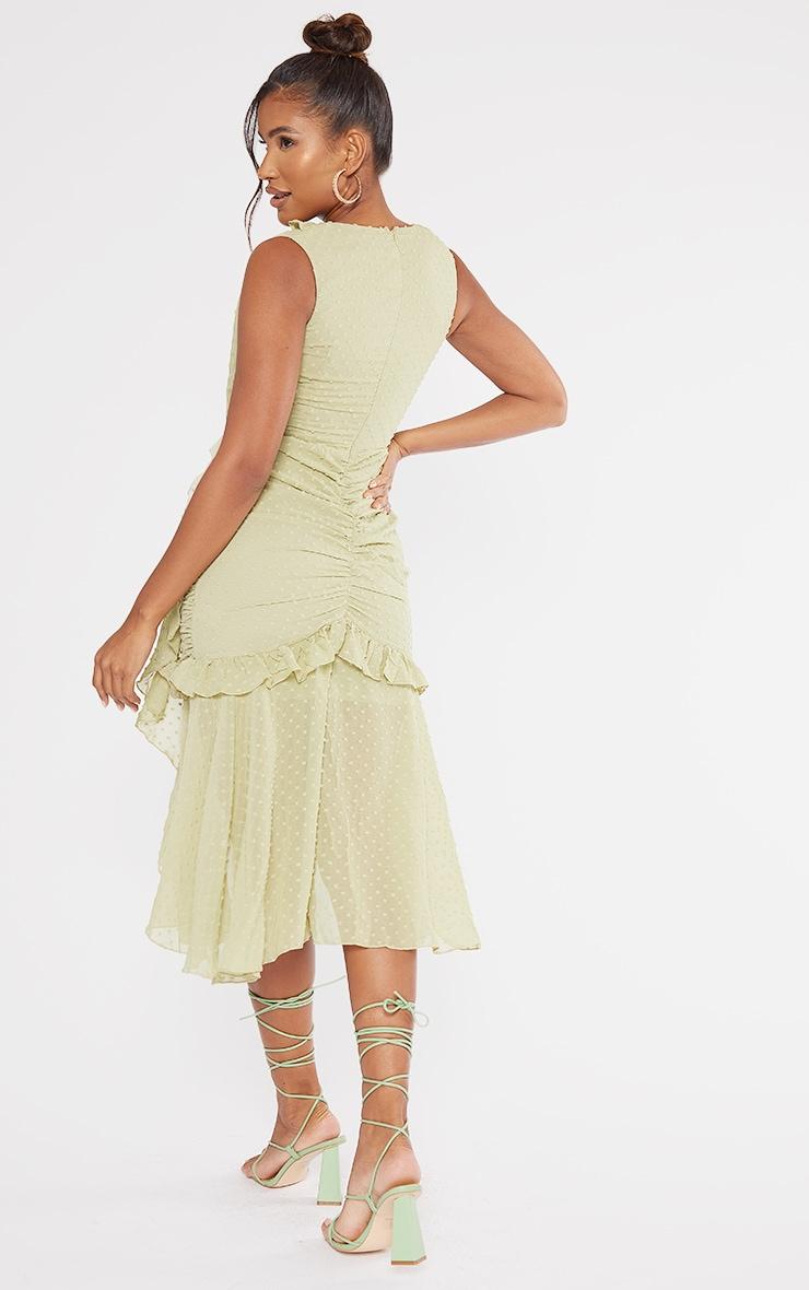 Olive Dobby Chiffon Plunge Frill Detail Midi Dress 2