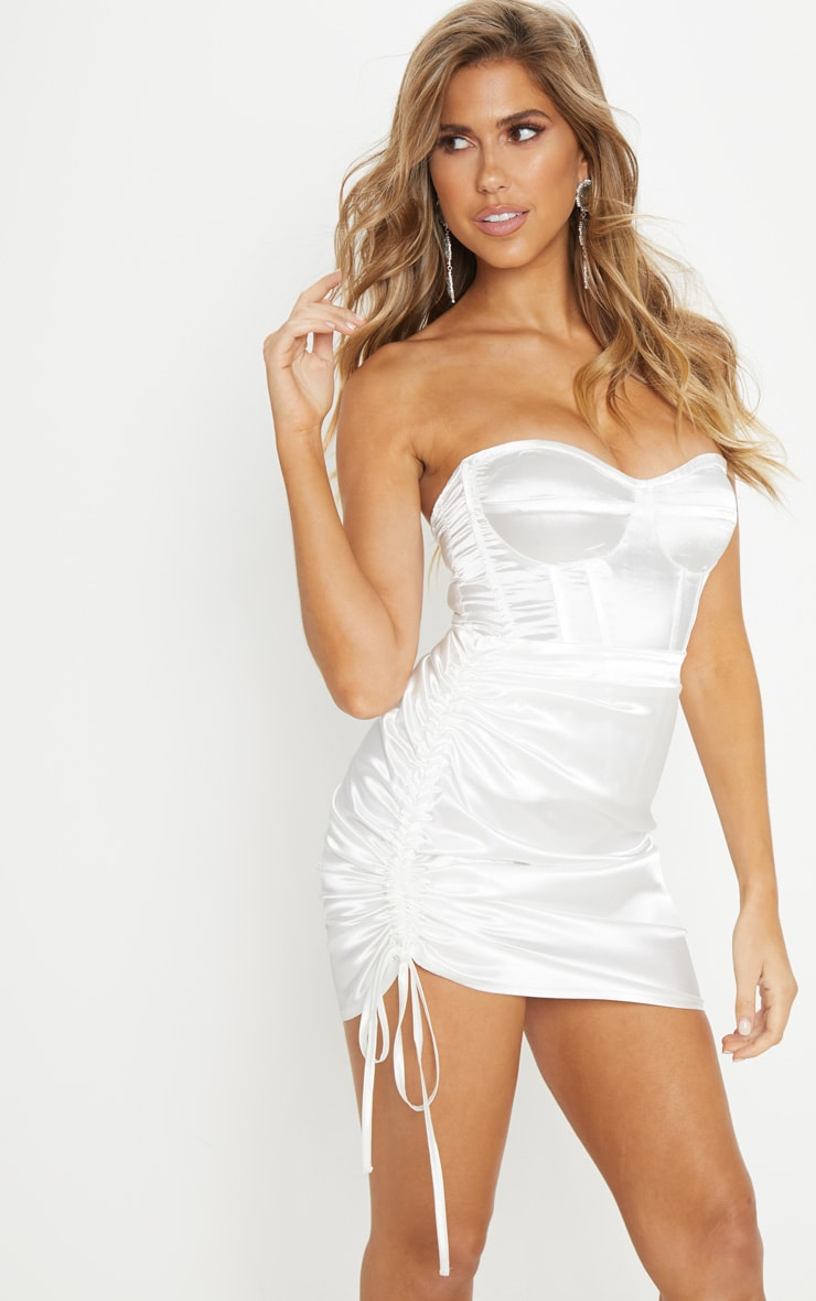 White Satin Ruched Side Mini Skirt