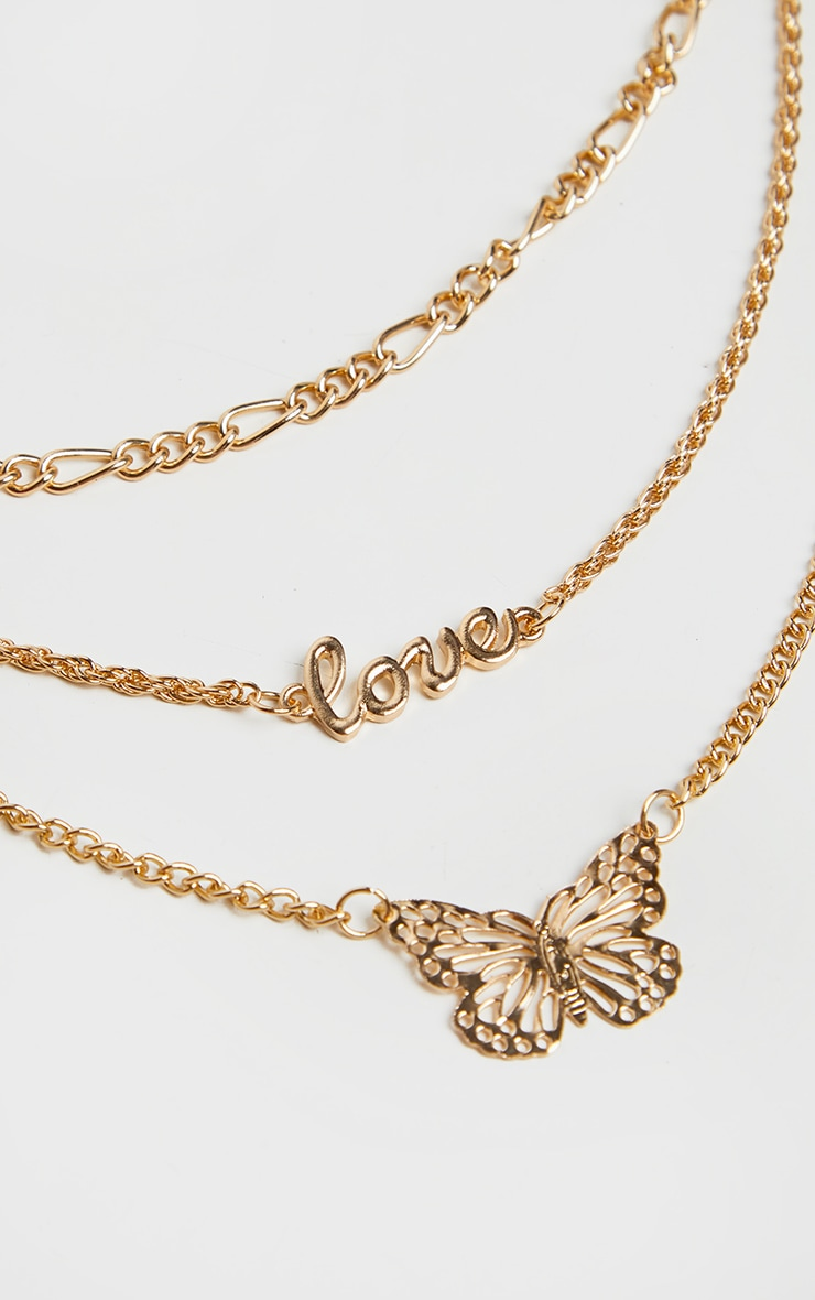Gold Butterfly Multi Layer Necklace 3