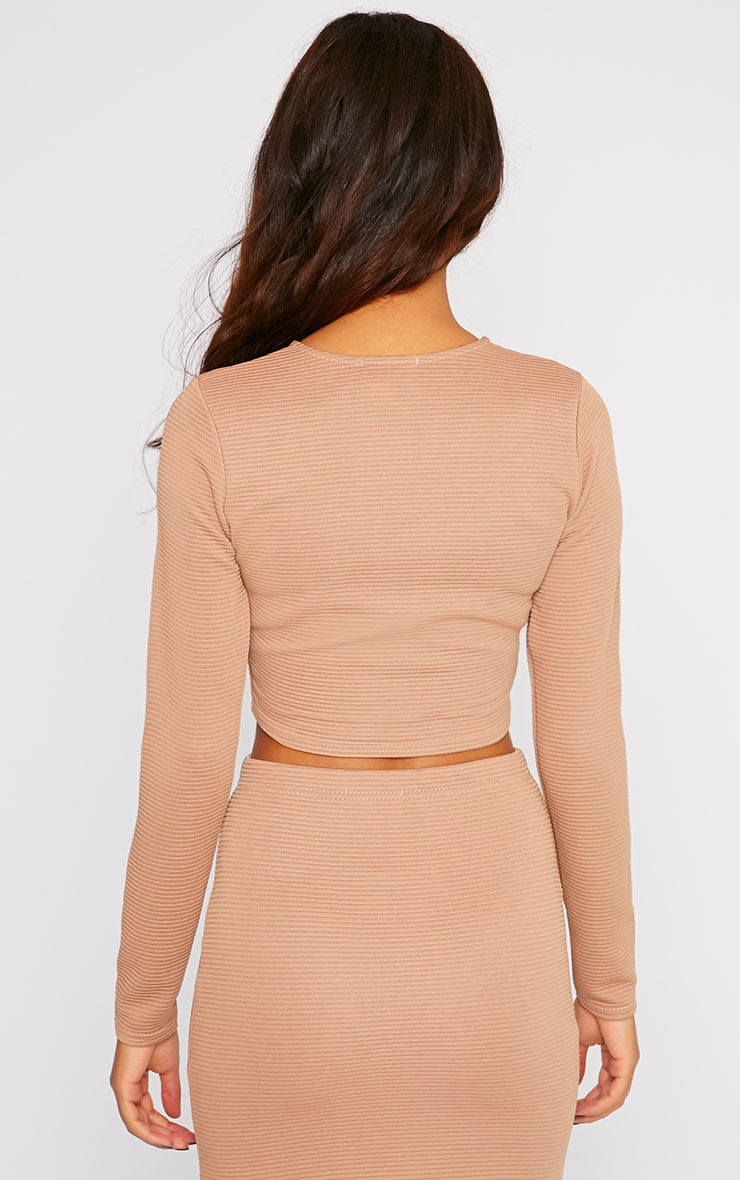 Britney Camel Ribbed Long Sleeve Crop Top 2