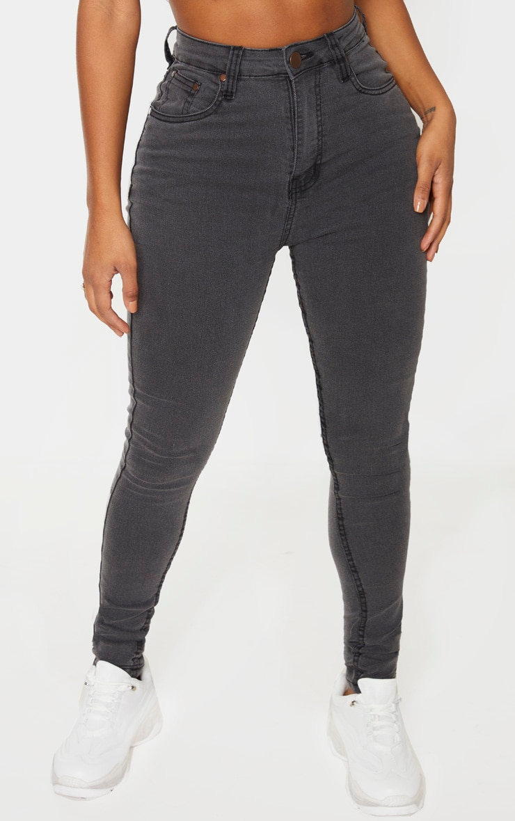 Shape Charcoal High Waist Super Stretch Skinny Jeans 2