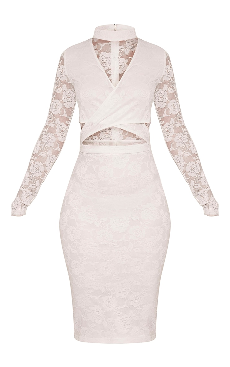 Emely White Neck Detail Cut Out Lace Midi Dress 3