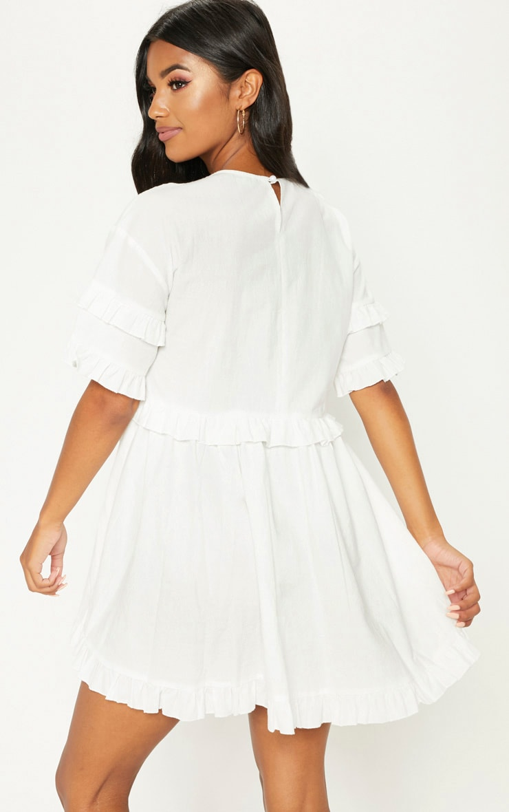 White Woven Frill Split Back Tea Dress 2