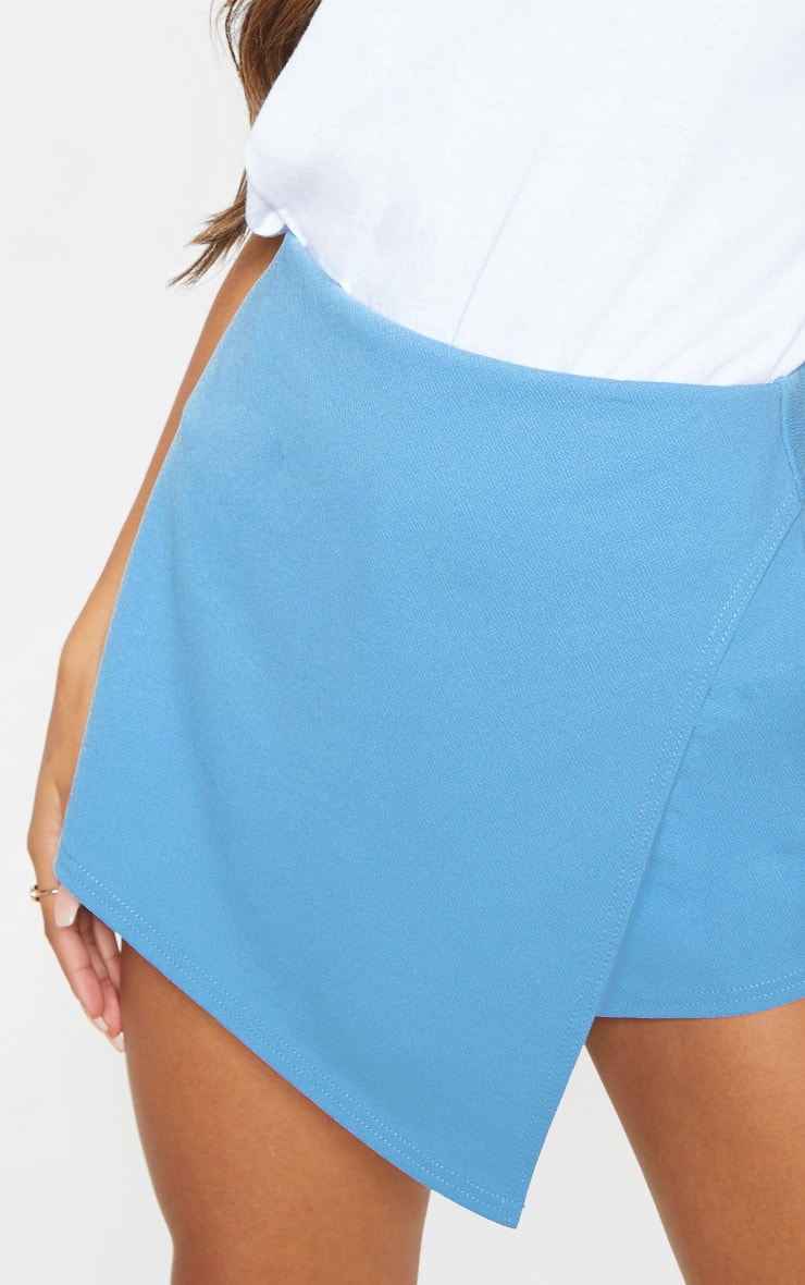 Dusty Blue Pocket Detail Wrap Over Skort  6