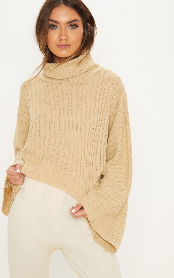 Camel Ribbed Knit High Neck Sweater  3