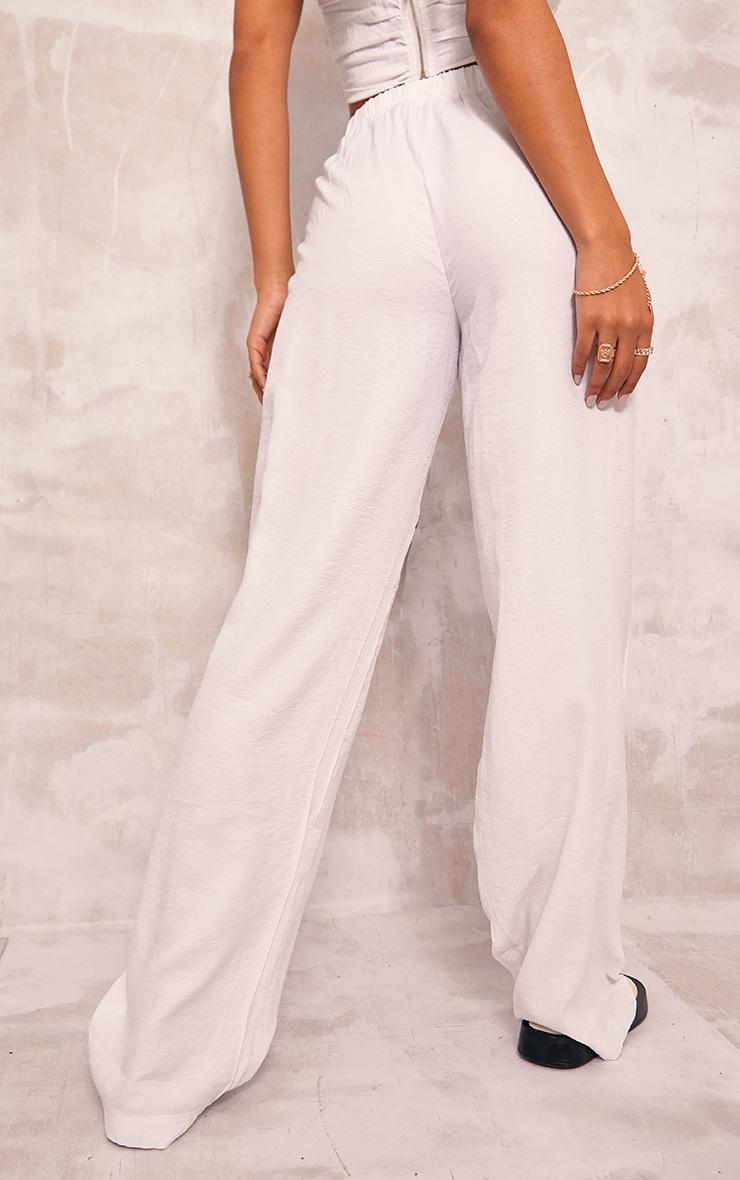 White Woven Elasticated Waist Wide Leg Pants 3