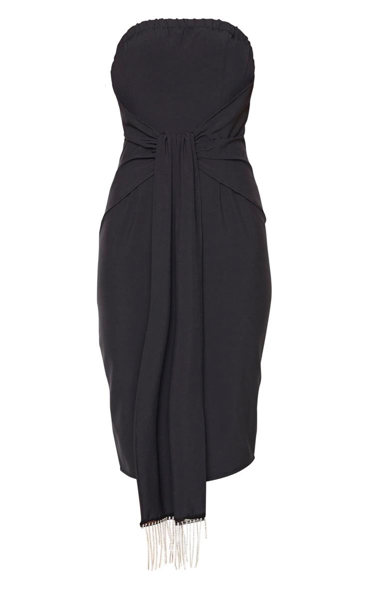 Black Jewelled Tassel Bandeau Drape Midi Dress 3