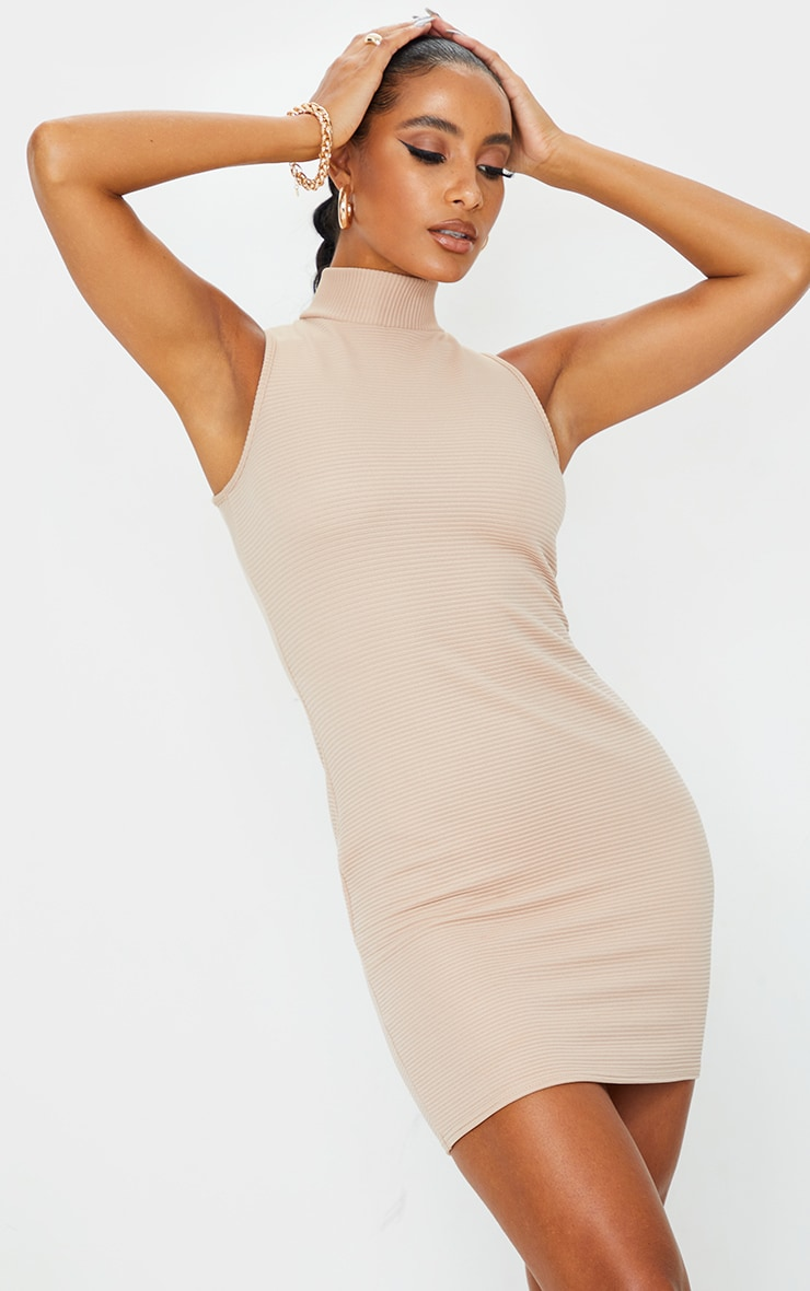 Stone Bandage Rib High Neck Sleeveless Bodycon Dress 1