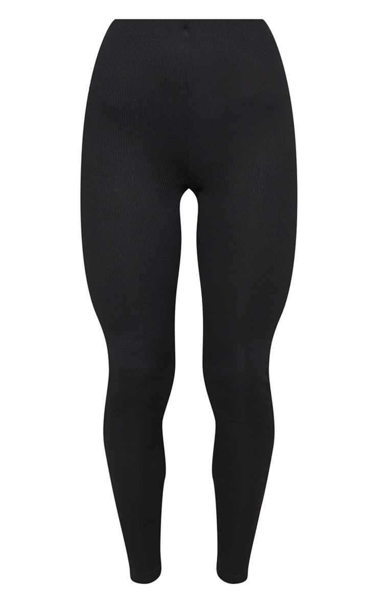 Black Tie Waist Detail Ribbed Leggings 5