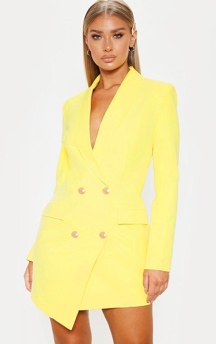 Lemon Gold Button Blazer Dress 1