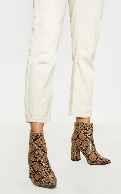 Brown Snake Block Heel Point Ankle Boot