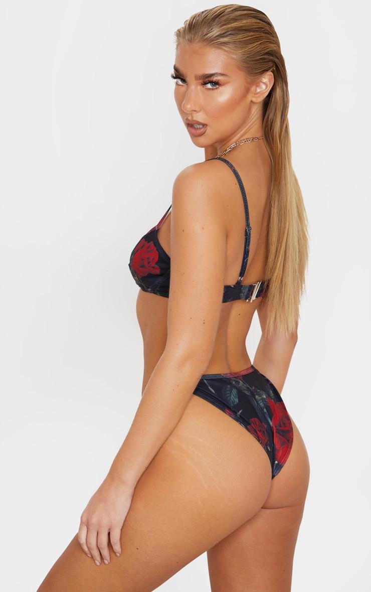Rose Print Deep V Bikini Top 2