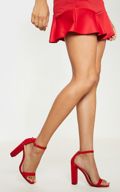6db79a7d35b May Red Faux Suede Block Heeled Sandals