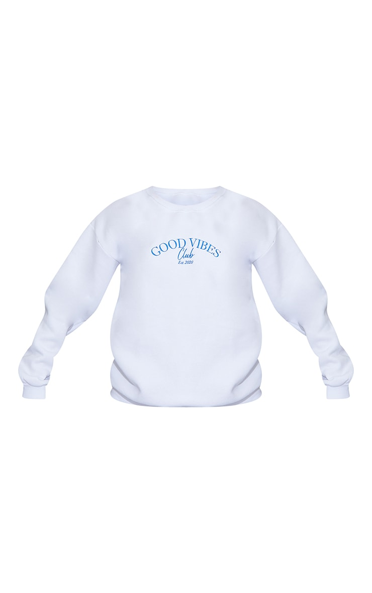White Good Vibes Club Slogan Embroidered Sweatshirt 5