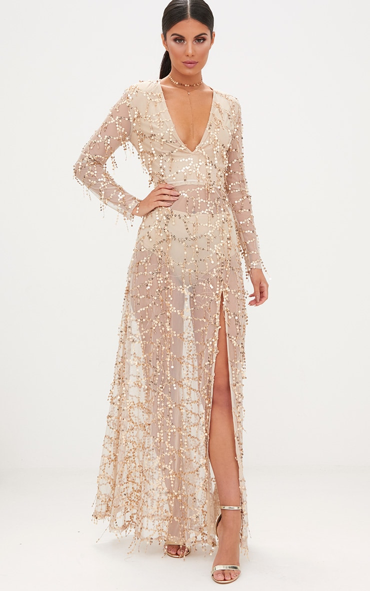 Valentina Gold Sequin Long Sleeve Maxi Dress 1