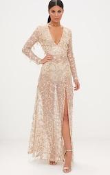97323397ab4 Valentina robe maxi or à manches longues et sequins image 1
