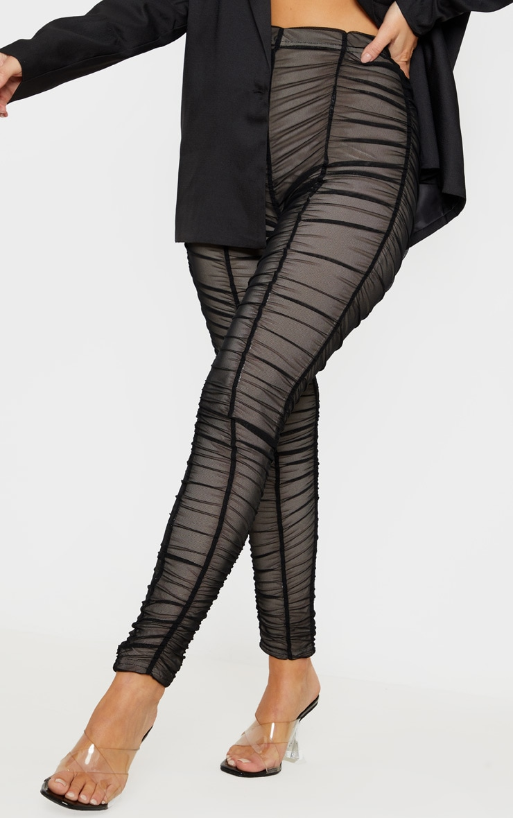 Black Ruched Mesh Layered Trouser 2