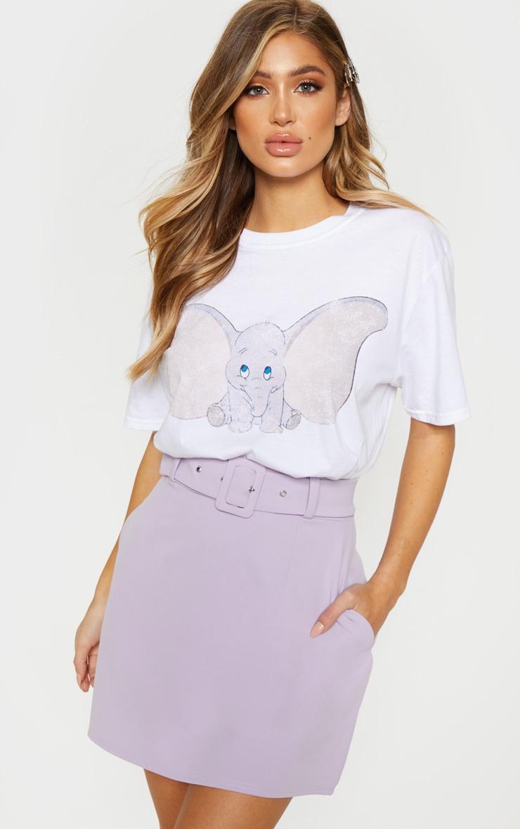 Mini-jupe droite lilas à ceinture 1