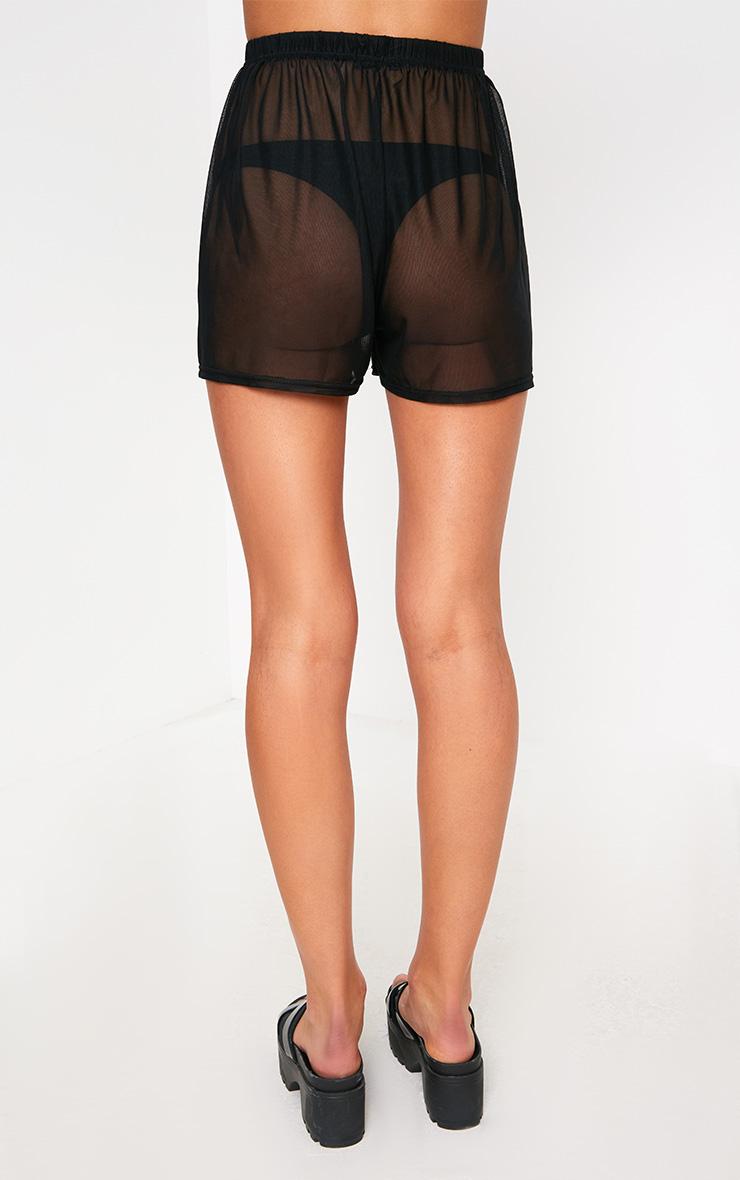 Black Floral Applique Mesh Floaty Shorts 4