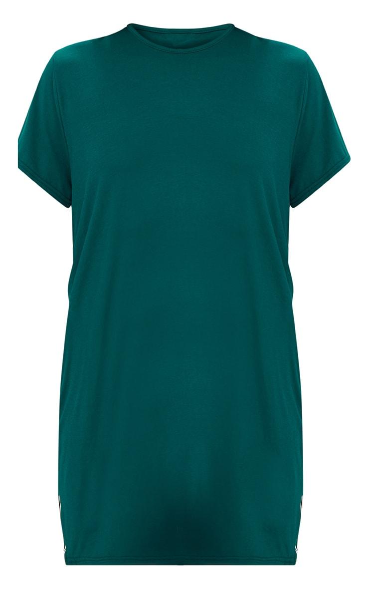 Forest Green Sports Stripe T Shirt Dress 3