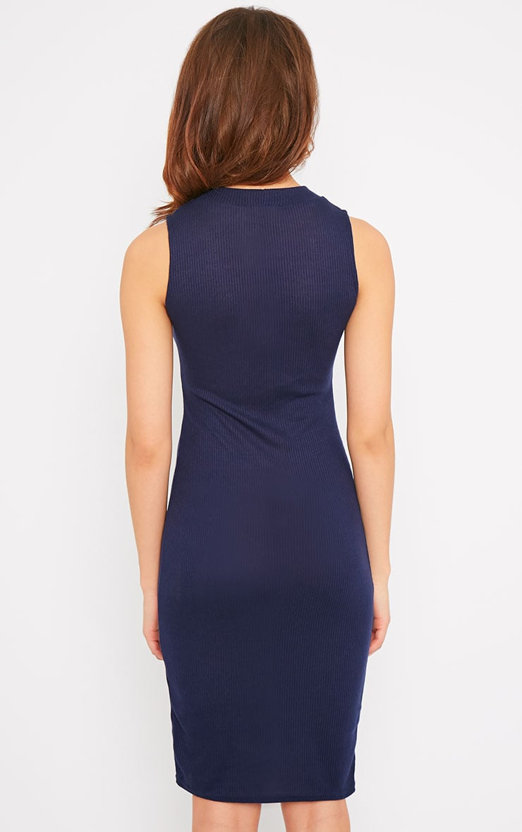 Bella Navy Ribbed Sleeveless Dress 2
