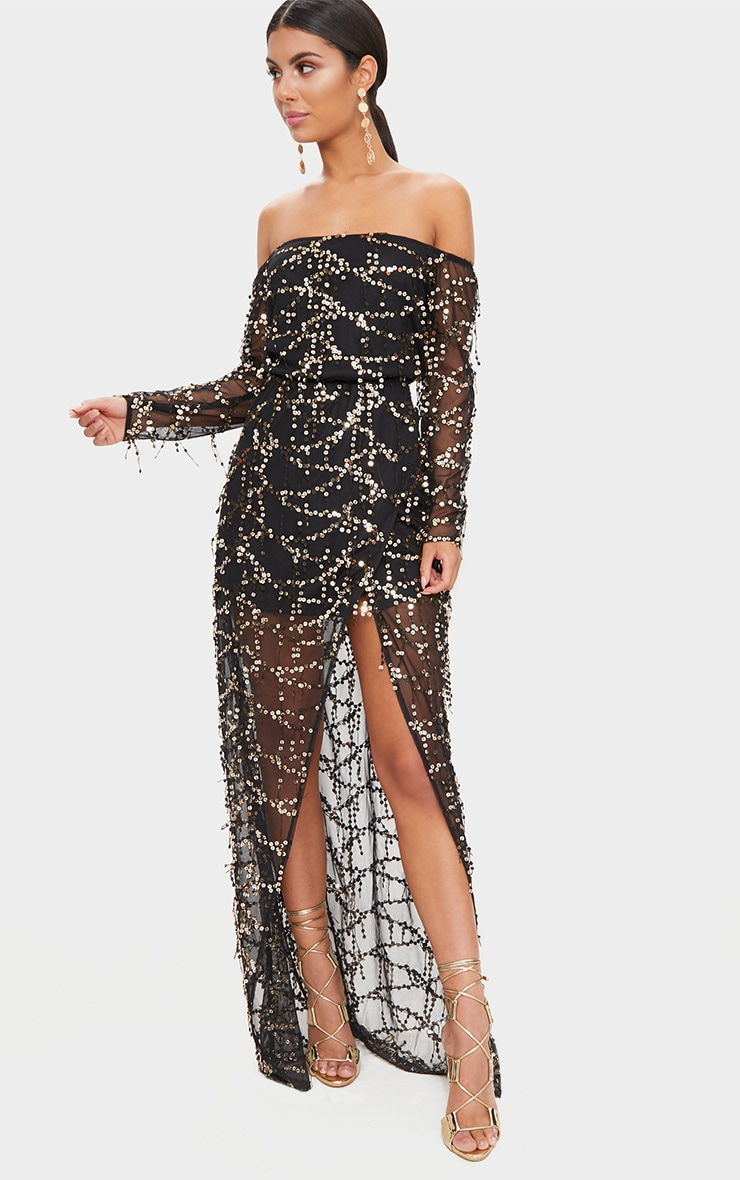 Black Bardot Sequin Wrap Maxi Dress 1