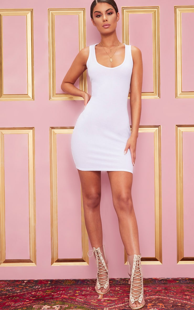 White Ribbed Scoop Neck Bodycon Dress 4