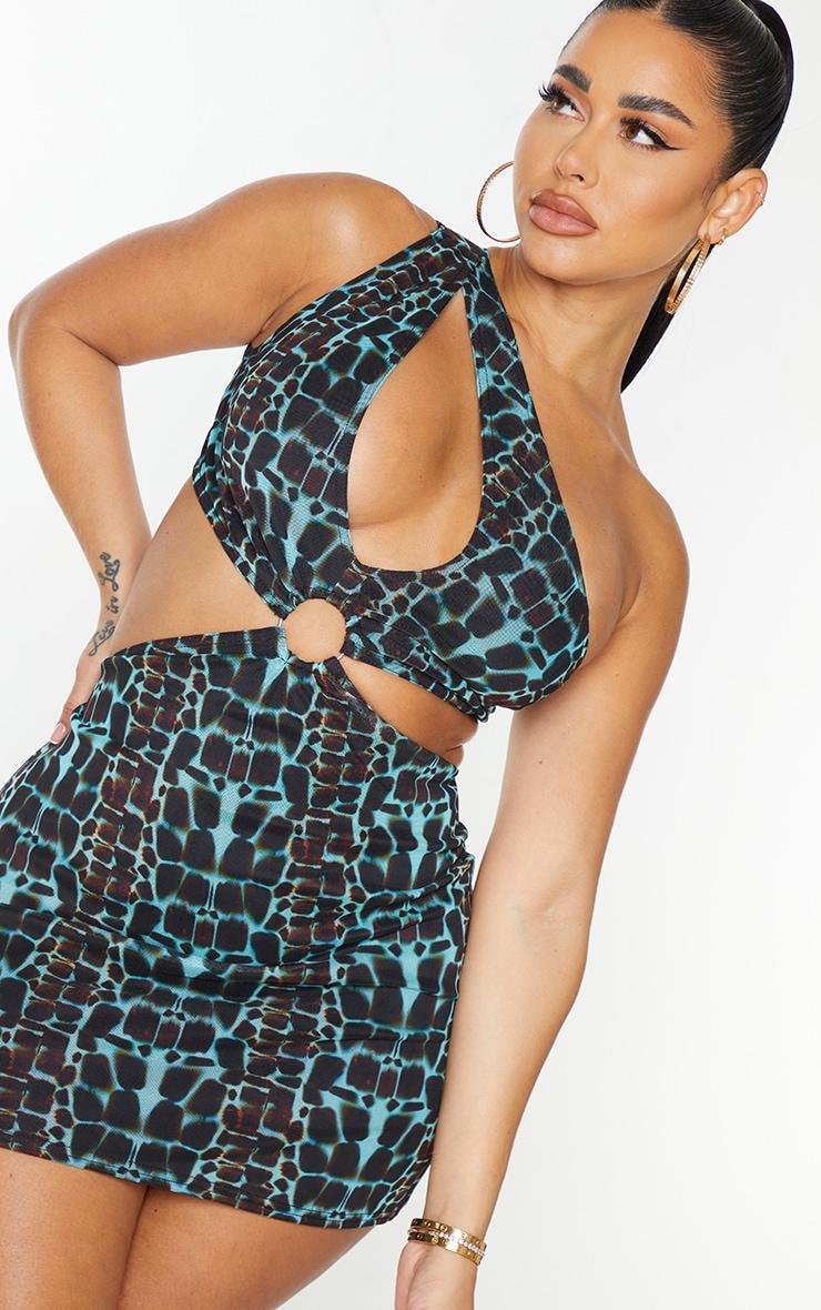 Shape Blue Snake Print Mesh One Shoulder Ring Detail Bodycon Dress 4