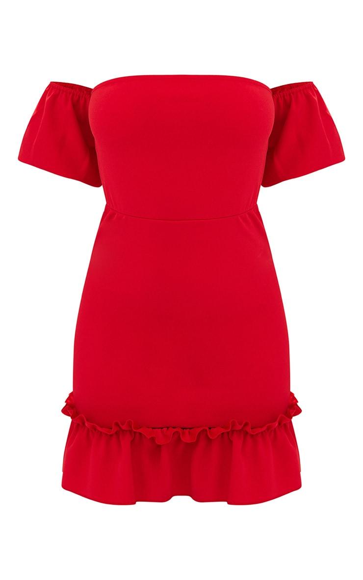 Red Puff Sleeve Bardot Frill Hem Bodycon Dress 3