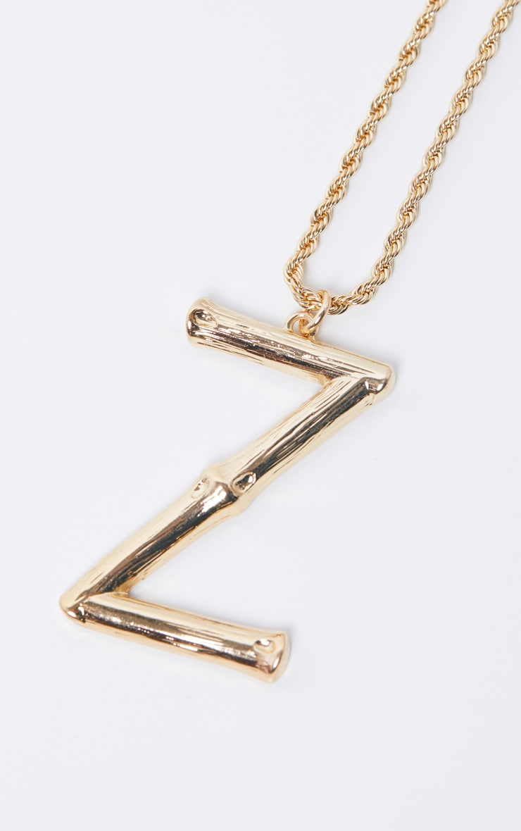 Gold Z Bamboo Letter Necklace 4