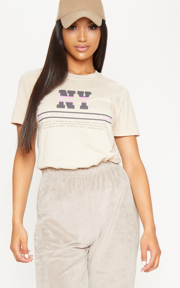 Sand NY Slogan Oversized T Shirt 1